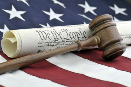 American Justice - Constitution, Wooden Gavel, and US Flag
