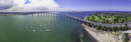 Coronado Bridge Panoramic - aerial imagery of San Diego Banco de Imagens