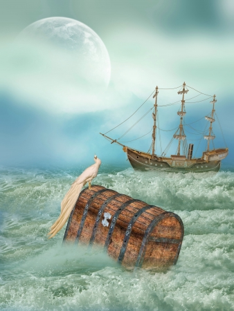 old moon: antique old  trunk in the ocean with bird and ship Stock Photo