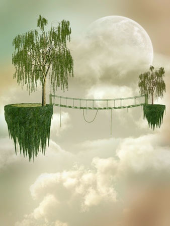 Fantasy Landscape with floating island and bridge Stock Photo - 10914846