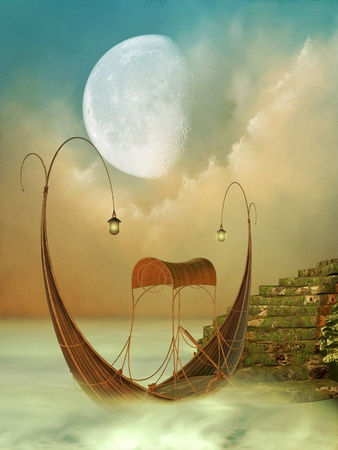 fantasy landscape: Fantasy Landscape with boat and moss stairway