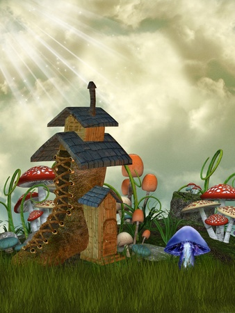tales: fairy house in the garden with mushrooms Stock Photo