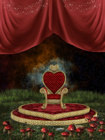 fairytale background: Magic throne with curtain and mushroom in the nigth Stock Photo