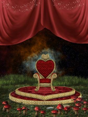 trono: Trono de la magia con la cortina y hongos en el nigth