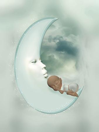 baby boy in the moon sleeping peacefully photo