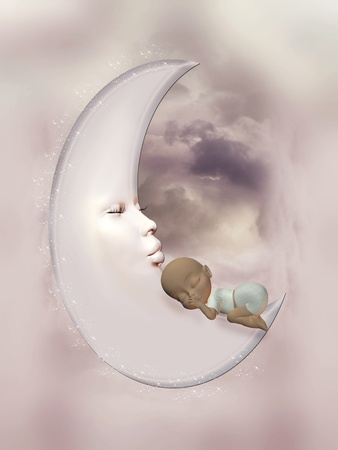 baby girl in the moon sleeping peacefully photo
