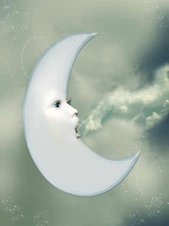 fantasy moon blowing clouds in a blue sky