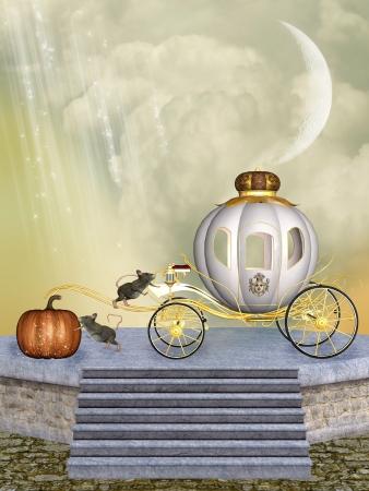 Carrozza di Cenerentola zucca e topi in una fase