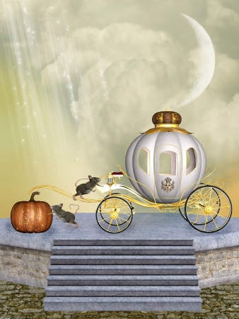 Cinderellas carriage pumpkin and mice into a stage Stock Photo