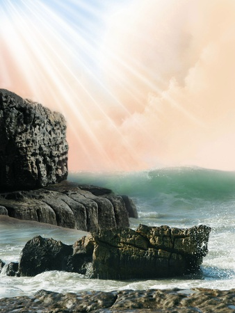 Fantasy landscape in the ocean with rocks photo