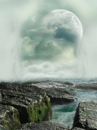 Fantasy landscape in the ocean with rocks Stock Photo - 10999323