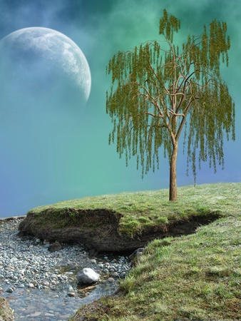 Fantasy Landscape in a lake with tree Stock Photo - 10999329