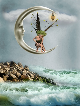tales: Fairy in the moon with fantasy landscape Stock Photo