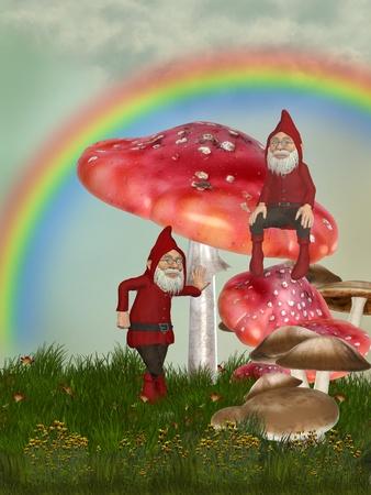 gnomos: jardín mágico con gnomos setas y el arco iris