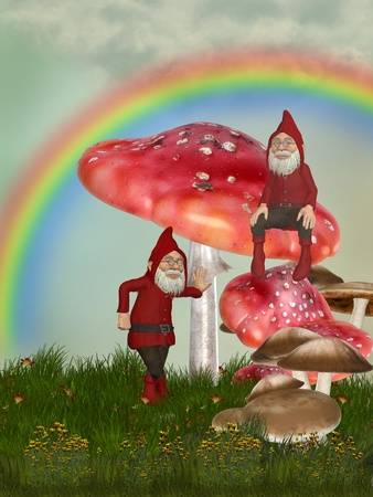 magic garden with gnomes mushrooms and  rainbow Stock Photo