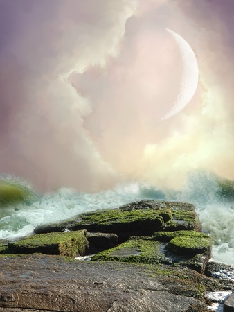 fae: Fantasy Landscape in the ocean with rocks