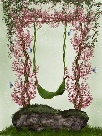 fairytale background: fantasy fairy hammock with flowers and butterflies