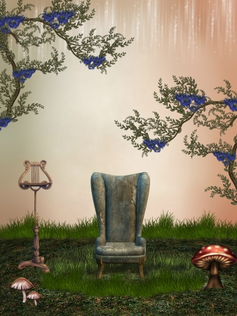 moon chair: fantasy landscape in the garden with armchairs