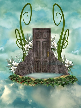 secret door in the sky with flowers Stock Photo