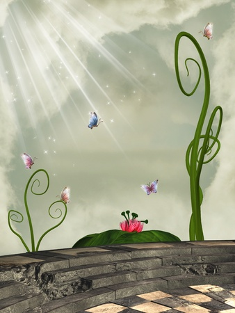 scenario: fantasy scene on a balcony with flowers and butterflies