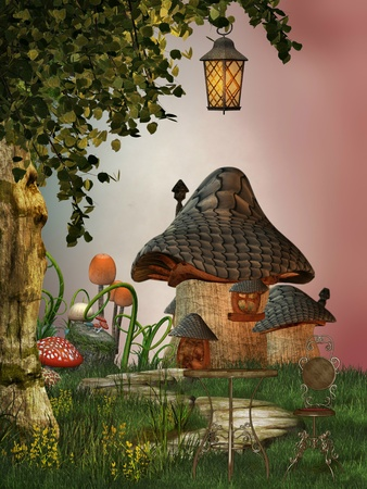 mushroom house in the garden with path photo