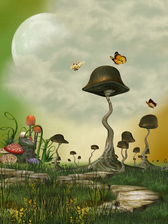 fairytale background: Fantasy Landscape with butterfly and mushrooms