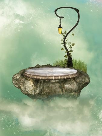 tales: fantasy floating rock scene in the sky