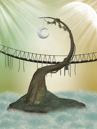 Fantasy moon tree in the sky with bridge photo
