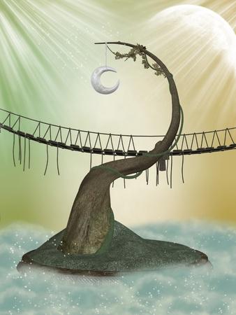 Fantasy moon tree in the sky with bridge photo