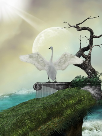swan in fantasy landscape with tree and moon Stock Photo - 11254898