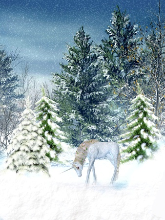 unicorn in fantasy winter landscape with trees