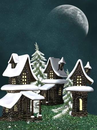 fantasy cottage in winter with snowfall and trees   photo