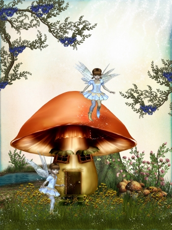 dreamy: fairytale in the forest with mushroom house Stock Photo