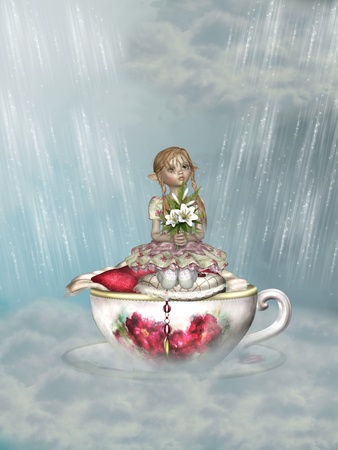 fairytale scene in the sky with bed cup photo