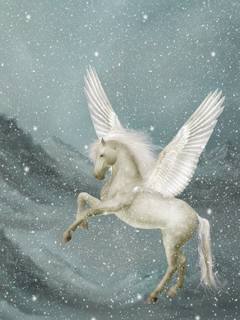 pegasus in a winter landscape with snow photo