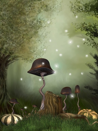 dragonfly art: fairytale scene in the forest with pumpkins mushrooms and dragonfly