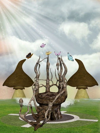Fantasy landscape with  throne butterflies and mushrooms photo