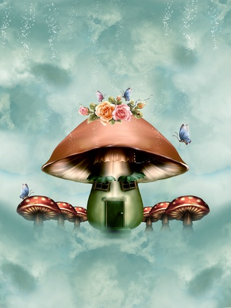 mushroom house with flowers and  butterflies in the sky photo