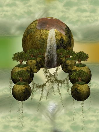 Fantasy floating islands with trees in the sky Stock Photo - 11450492