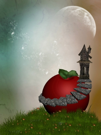 Fantasy House in the garden with and apple