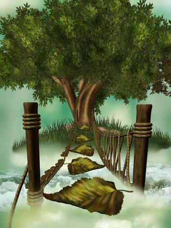 fantasy bridge with path leaf tree and waves photo