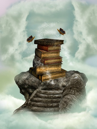 magic book: books in the sky on a stone stairway