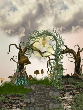 tales: path in the tree with strange vegetation