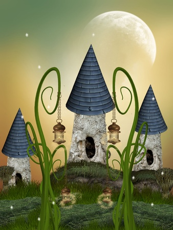 Tree House in a fantasy garden with a big moon photo