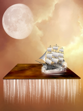 fairytale background: Fantasy landscape with a galaxy and ship