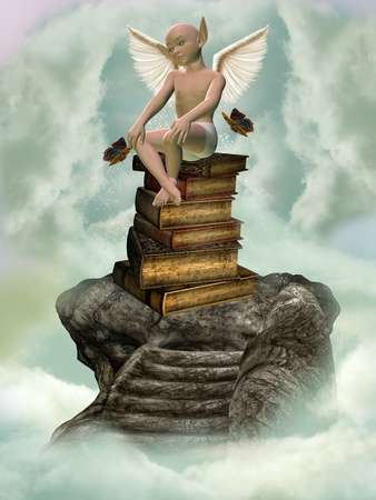 manipulation: books and fantasy creature in a stone stairway in the sky