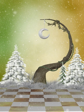 fantasy winter landscape with pine and snow photo
