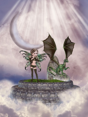 fairy and dragon in a stage in the sky photo