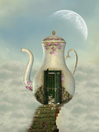 maison théière dans le ciel avec de la mousse escalier