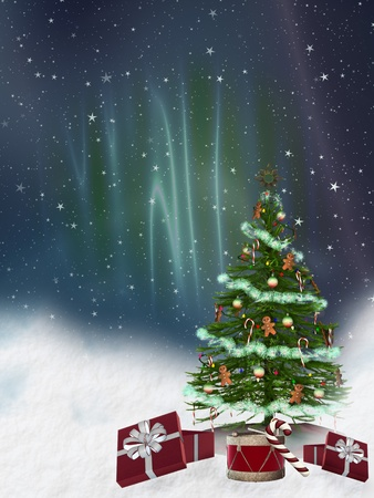 marry christmas: christmas tree in the night with snow Stock Photo